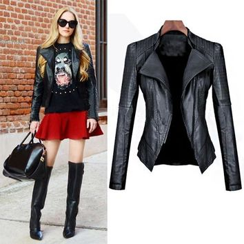 New motorcycle leather jacket women leather coat outerwear spring ladies jackets coats girl jacket coat 63