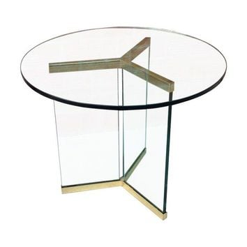 Pre-owned Pace Brass & Glass Side Table