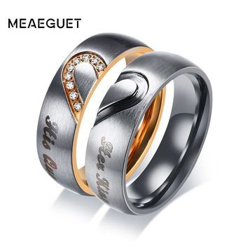 Meaeguet His Queen   Hers King Heart Wedding Rings for Women Men Stainless  Steel Cubic Zirconia a6219373ec