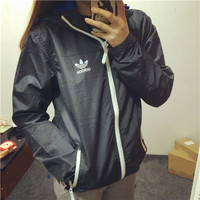 Adidas: men and women couples a thin coat of windbreaker jacket Harajuku tide