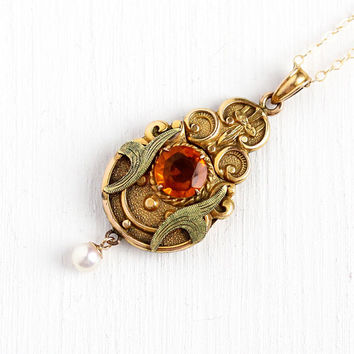 Simulated Citrine Locket - Circa 1910 Edwardian Gold Filled Orange Glass Necklace - Vintage Pearl Green Gold Accent Pendant Photo Jewelry