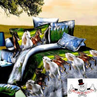 Horse Mountains and River Bedding Set and Quilt Cover