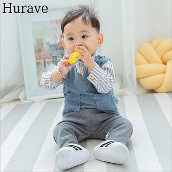 Autumn kids clothes Fashion baby boy and girl clothes striped shirt vest trousers