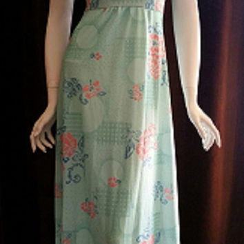 70's Mint Chiffon Maxi Dress, Pastel Prom Dress, Bridesmaid Dress, Romantic Flutter Sleeve Dress, Floral Chiffon Gown, Seafoam Dress, Sz SM