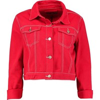 Red Contrast Stitch Cropped Denim Trucker Jacket | Boohoo