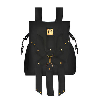 X Leather Backpack - Black