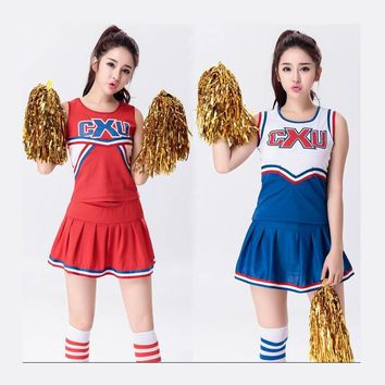 Female Sexy High School Cheerleader Costume Girl sportswear aerobics dance Cheer Girls DS Uniform Party Outfit Tops and Skirt
