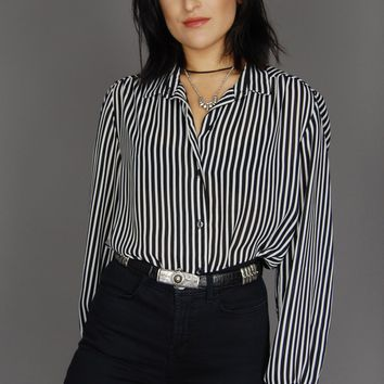 Day Tripper Striped Sheer Button Up Blouse
