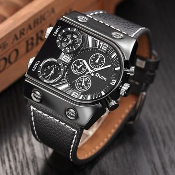 2017 Oulm Men's Watches Mens Quartz Casual Leather Strap Wristwatch Sports Man Multi-Time Zone Military Male Watch Clock