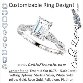 Cubic Zirconia Engagement Ring- The Alelli (Customizable Emerald Cut Style with Thin and Twisted Micropavé Split Band)