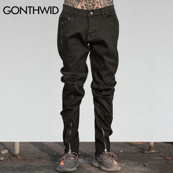 Black Knee Ripped Jeans Men Ankle Zipper Biker Jeans Hip Hop Male Destroyed Distressed Holes Denim Pants Trousers