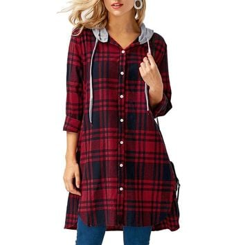 women's tunic Tops Fashion Ladies Shirts Long Sleeve Hooded Casual Loose Plaid Lattice Long Shirt Blouse blusa feminina 2018