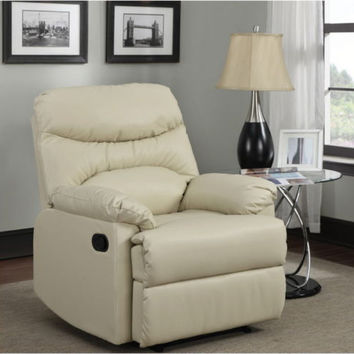 Stylish Recliner Chair With 6 Pull-String Support Almond Bonded Leather Home Use