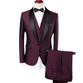 Men's Suit Men 3 Pieces Wine Red Navy Shawl Lapel Tuxedo Grooms Wedding Suits for Men Business Casual Best Men's Blazer