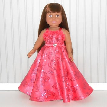 Coral Prom Dress for 18 inch Girl Doll Clothes Special Occasion Gown Floor Length  American Doll Clothes