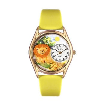 Whimsical Watches Healthcare Nurse Gift Accessories Lion Yellow Leather And Goldtone Watch