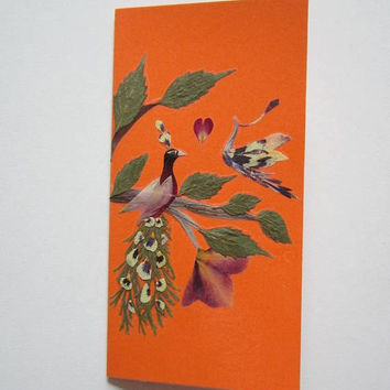 "Handmade unique greeting card ""Opposites attract"" - Pressed flowers greeting card - Unique gift - Art card - Original art collage."