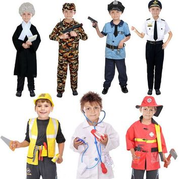 Kids Boys Police Lawyer Firemen Doctor Cosplay Costume Children Role Play Costumes Halloween Party Dress Supplies