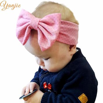 "1PC 2018 Hot-sale Girl 5"" Cotton Dot Heart Elastic Bow Headband Hair Style Headbands Accessories For kIds Headwrap Bandeau"