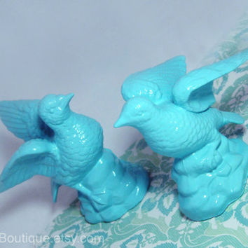Ceramic Bird Figurines, Upcycled Vintage, Bird Sculptures, Repurposed, Bird Home Decor, Blue, Light Turquoise, Light Aqua, Fun, Colorful
