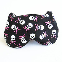 Eye mask, Sleep mask, eye sleep mask, Kitty eye mask, Cat eye mask, Kitty sleep mask-skull.