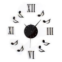 ZLYC Modern Novelty Fashion DIY Musical Notes Mute Quartz Wall Clock Home Decor
