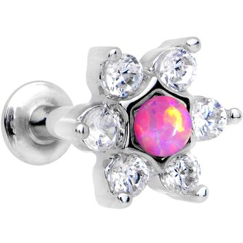 "1/4"" Pink Faux Opal Internally Threaded Star Flower Labret Monroe"