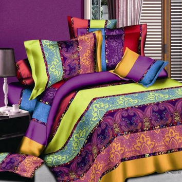 Boho Bedding set Striped Paisley Bohemian duvet covers sets bed in a bag sheet bedspread quilt linen Queen size Full double 4PCS