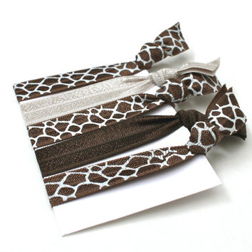 Giraffe Hair Tie Bracelets - Giraffe Hair Bands - Knotted Hair Elastics - Creaseless Hair Ties - Brown Giraffe Print - Gift for Girls