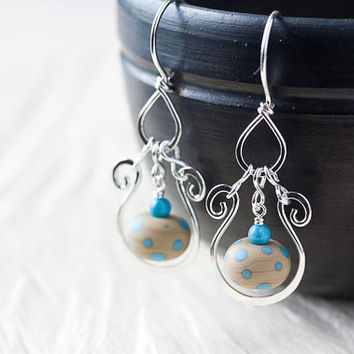 Playful Blue Turquoise Polka Dot Earrings, hammered sterling silver drop hoop, light brown lampwork glass bead, sleeping beauty turquoise