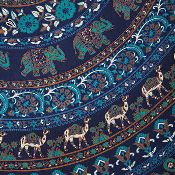 Large Indian Blue elephant Mandala Tapestry Hippie Hippy Wall Hanging Throw Bedspread Dorm tapestry