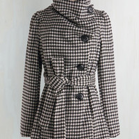 Vintage Inspired Long Long Sleeve Carefully Chosen Coat in Houndstooth by ModCloth