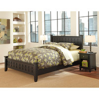 Home Styles Furniture 5181-5017 Arts and Crafts Black Queen Bed and Night Stand