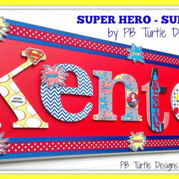 Childrens Custom Name Plaques, Personalized Name, Kids Decor, Nursery Sign, Made to Order, Superman, Super Hero, Nursery Art, Comic Book