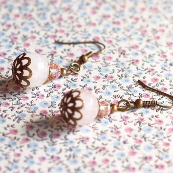 Faceted pink earrings.Antique brass bow earrings.Vintage style earrings.Love gift for her.Jewelry For Her Under 10. Faceted bead earrings.