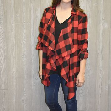 Side By Side Buffalo Plaid Cardigan: Red/Black