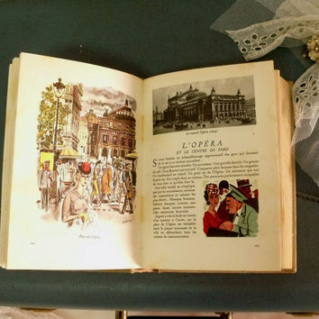 Vintage Paris France book bride keepsake decor shabby chic paris Eiffel tower charm souvenir lace flowers bow