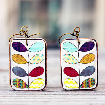 Natural wood earrings Earthy wooden jewelry Handmade vine paper Rustic style Bright colors Handcrafted by The Paisley Mill . WiJNSToK
