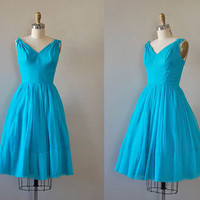 1950s dress / silk 50s dress / Brilliantine dress