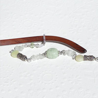 Eyeglass Necklace with Green Jade and Bali Sterling Silver