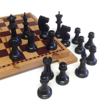 Vintage Black Wooden Chessmen, Vintage Wood Chess Pieces,  Assemblage, Art, 16 Piece Chess Men