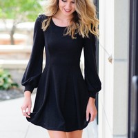 * While Im Around Fit And Flare Dress: Black