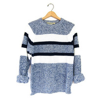 Vintage SLOUCHY sweater Retro Blue & White Chunky Knit Raglan Boyfriend Sweater Wide Stripe Pullover Marled 90s knit jumper Mens Large