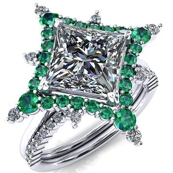 Thalim Princess/Square Moissanite 4-Point Star Emerald and Diamond Halo Ring ver. 2