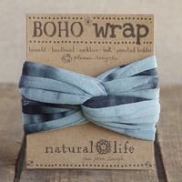Aqua & Black Tie-Dye Boho Wrap by Natural Life