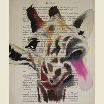 Illustration Drawing Giclee Prints Posters Mixed Media Art Acrylic Painting Holiday Decor Gifts: Funny giraffe