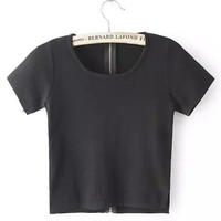 Black Scoop Neckline Zip Up Crop Top