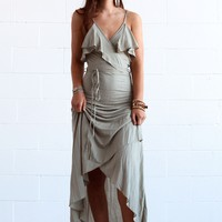 Tropical Heat Wrap Ruffle Maxi Dress - Olive