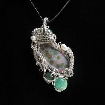 Ocean Jasper Wire Wrapped Pendant in Sterling Silver by studiodct