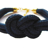 SALE- Navy Blue Nautical Sailor knot Bracelet - As seen in 'Let's Knit' magazine